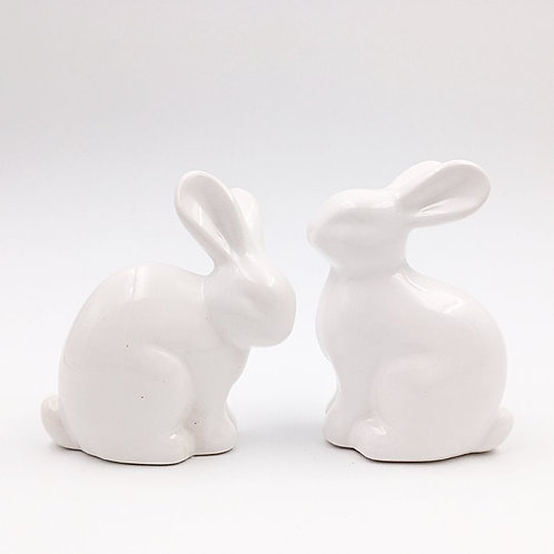 Hasenpaar Keramik weiss 6 cm
