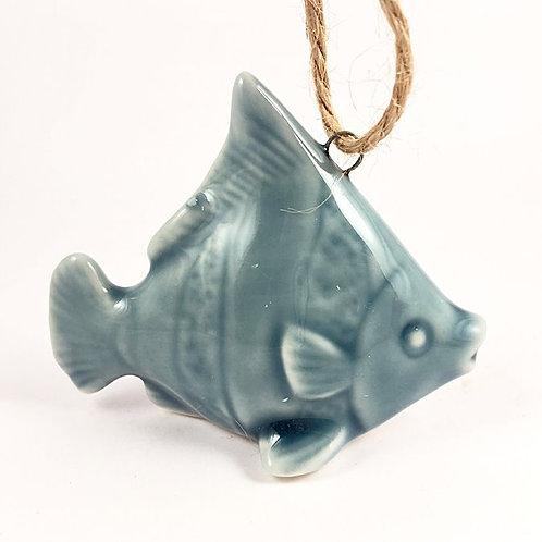 Fisch Keramik blau mit Streifen