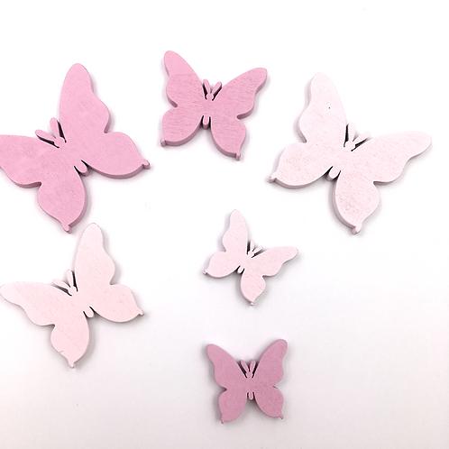 Schmetterlinge rosa/pink zum Streuen und Basteln (Beutel mit 6 Stück)