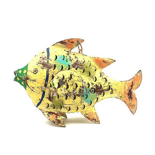 Fisch-Windlicht Metall gelb (S: 20 cm)