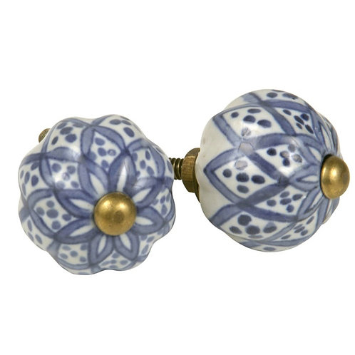 Knopf Keramik Kugel weiss-blau