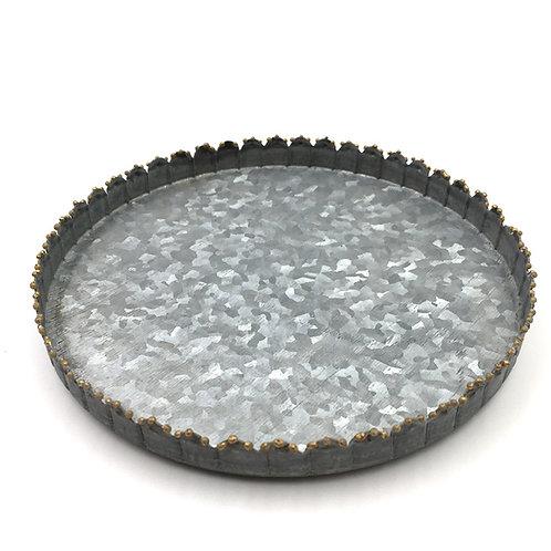 Zinkteller mit Perlenkante L 18cm