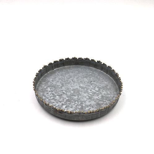 Zinkteller mit Perlenkante S 12cm