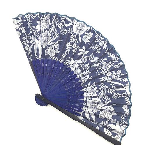 Handfächer blau-weiss Modell F