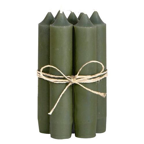 Kerzen olive (Bund 7 Stück)