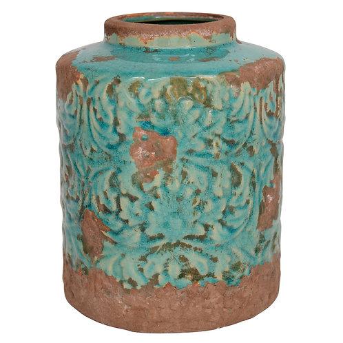 Vase mit Blattmuster türkis shabby