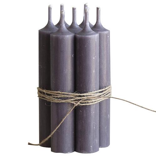 Kerzen aubergine (Bund 7 Stück)