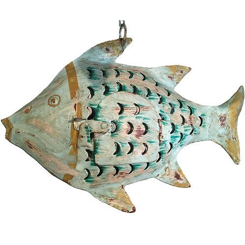 Fisch-Windlicht Metall helltürkis (S: 20 cm)