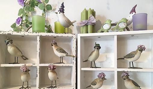 Vögel mit Hut lila grün