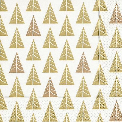 Papierservietten Tannen gold/kupfer