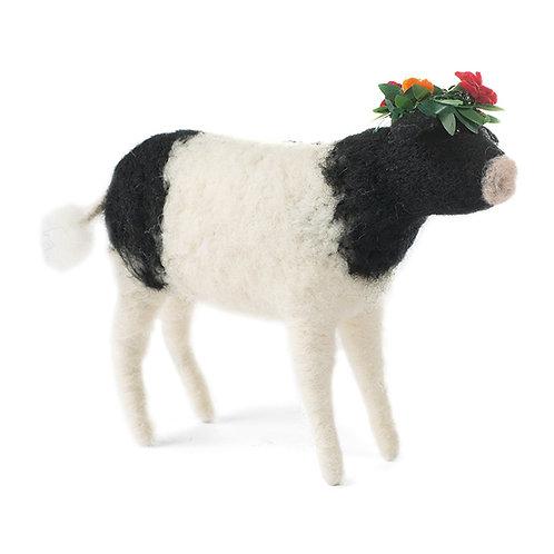 Kuh gefilzt weiss mit Blumenkranz 16 cm