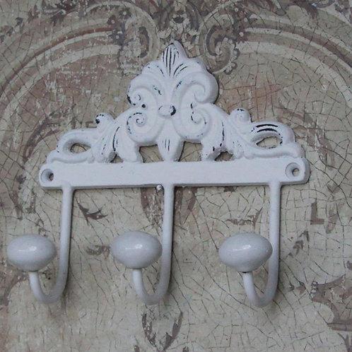 Wandhaken 3er mit Keramikknöpfen