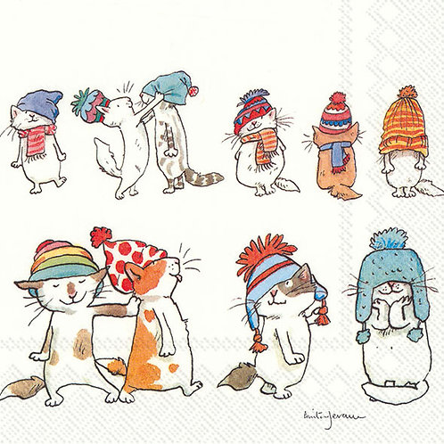 Cocktail-Servietten : Cats with Hats (Anita Jeram)