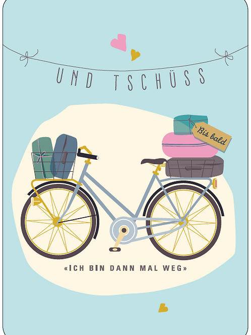 Postkarte - Und Tschüss (Velo)