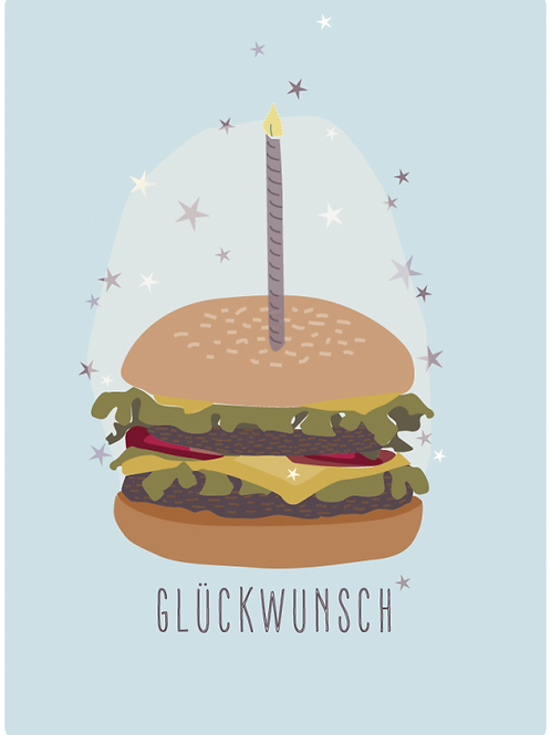 Postkarte - Glückwunsch (Hamburger)