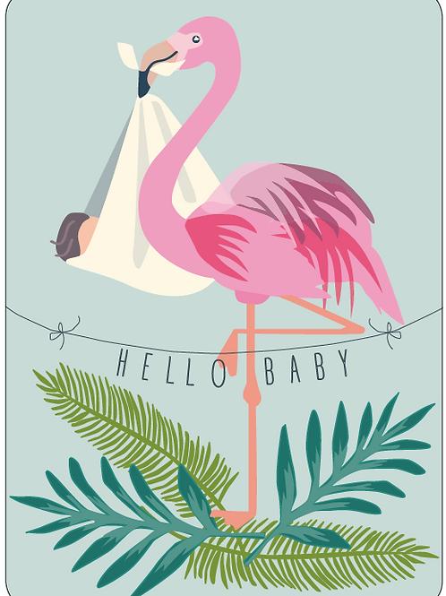Postkarte - Hello Baby (Flamingo)