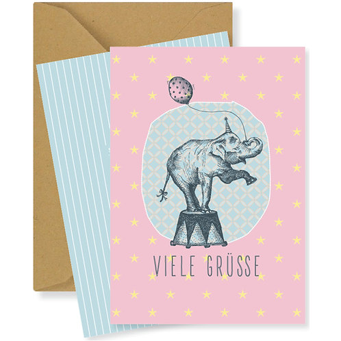 Mini-Faltkarte - Viele Grüsse (Elefant)