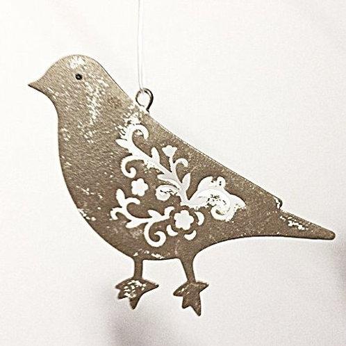 Vogel mit gestanztem Rankenmuster graubraun