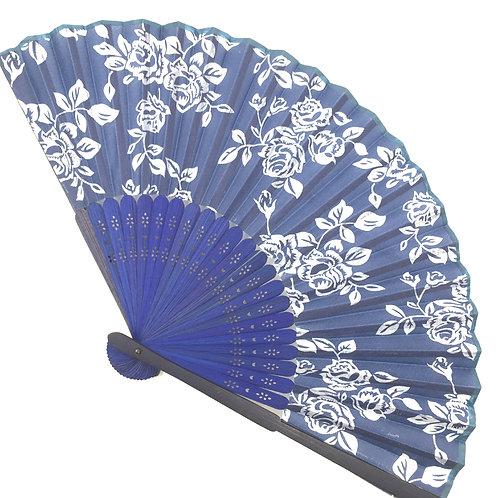 Handfächer blau-weiss Modell D