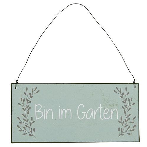Schild - Bin im Garten hellgrün