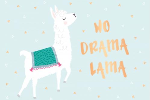 Postkarte 12x17cm - No Drama Lama (veredelt)