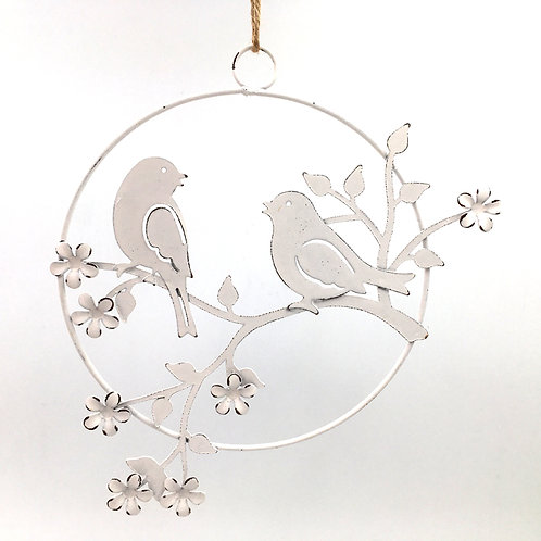 Aufhänger Vogelpaar auf Zweig (rund 18cm)