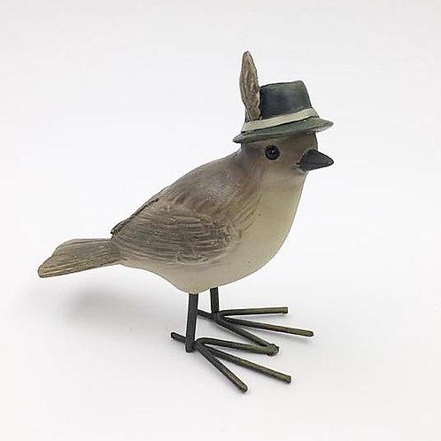 Vogel Mann mit Feder rechts (schaut gerade)