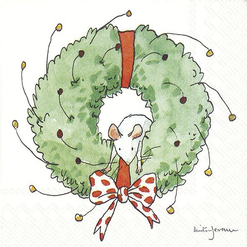 Cocktail-Servietten : Mouse in a Wreath (Anita Jeram)
