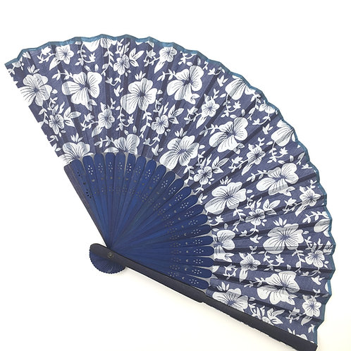 Handfächer blau-weiss Modell A