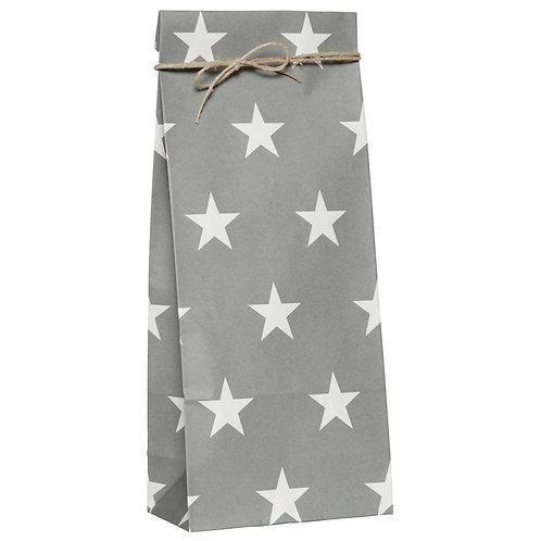 6 Stück Kreuzbodenbeutel grau mit weissen Sternen 12 x 7 / H 30 cm