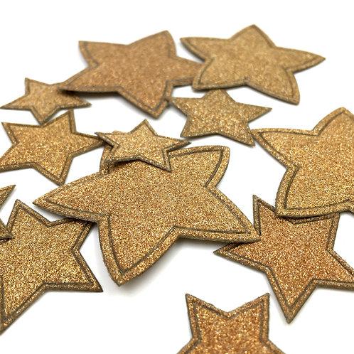 Sterne in kupfergold matt (Beutel 60 Stück assortiert)