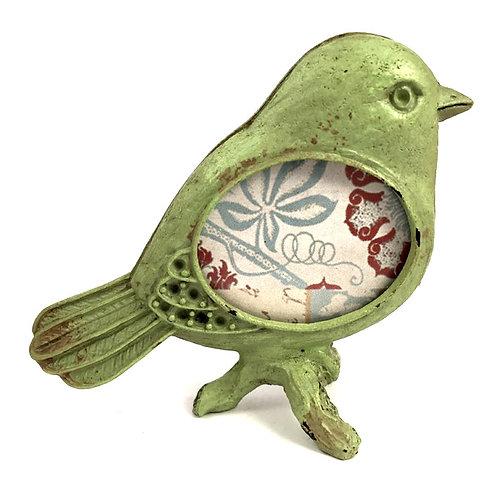 Mini-Bilderrahmen Vogel Metall grün