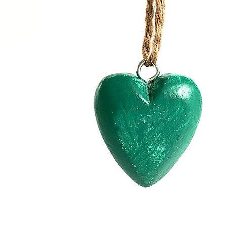 Herz Holz blaugrün
