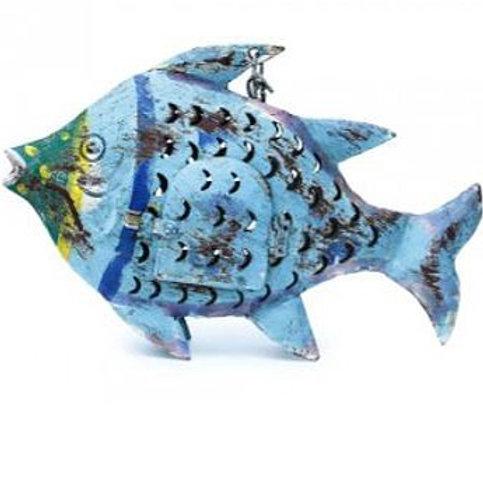 Fisch-Windlicht Metall blau (S: 20 cm)