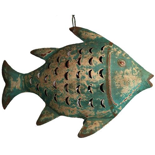 Fisch-Windlicht Metall türkis (L: 42 cm)