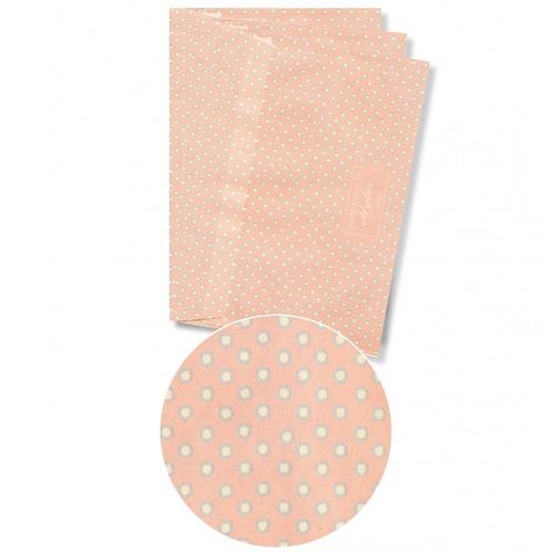Couvert abricot mit Punkten + Klebetikette für Adresse