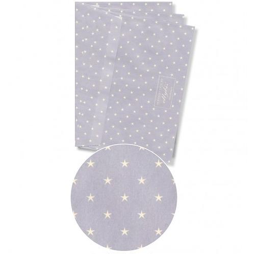 Couvert hellblau mit Sternen + Klebetikette für Adresse