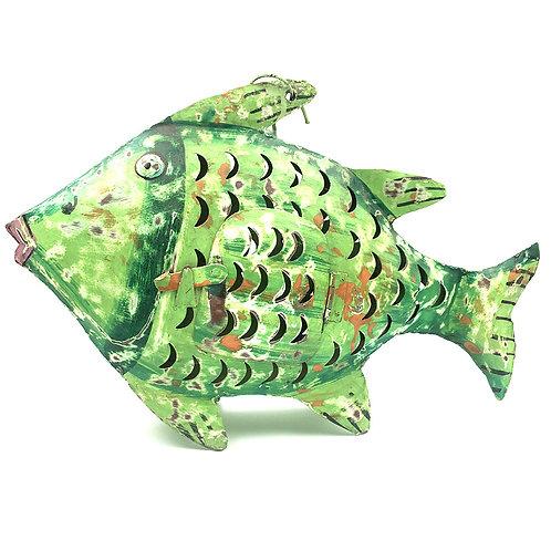 Fisch-Windlicht Metall grün (M: 33 cm)