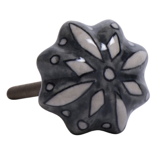 Knopf Keramik Blume grau/weiss