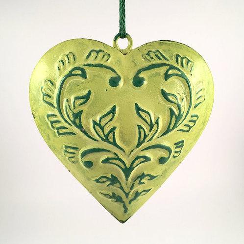 Herz Metall grün mit Ornament