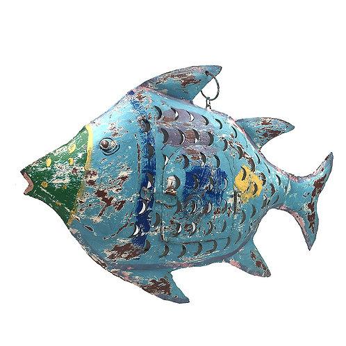 Fisch-Windlicht Metall antikblau (L: 42 cm)