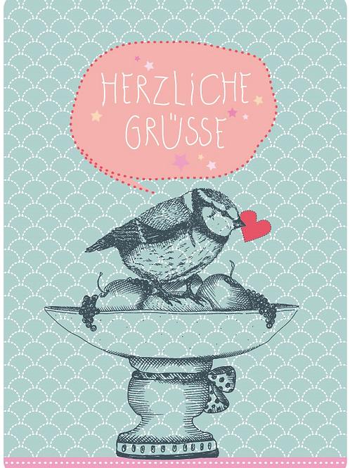 Postkarte - Herzliche Grüsse (Meise)