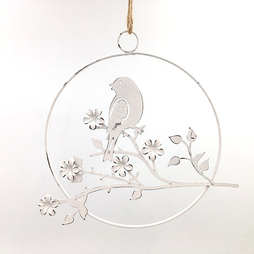 Aufhänger Vogel auf Zweig (rund 18cm)