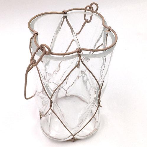 Windlicht Glas mit Draht