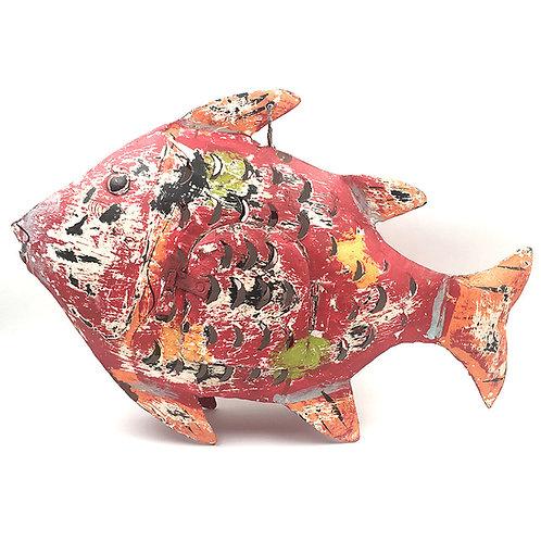 Fisch-Windlicht Metall rot (L: 42 cm)