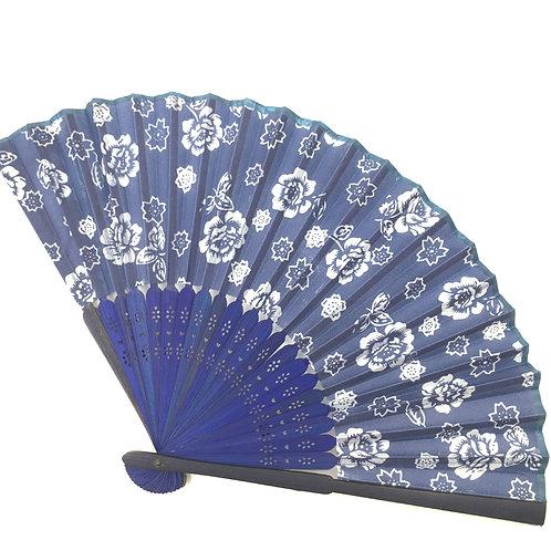 Handfächer blau-weiss Modell B