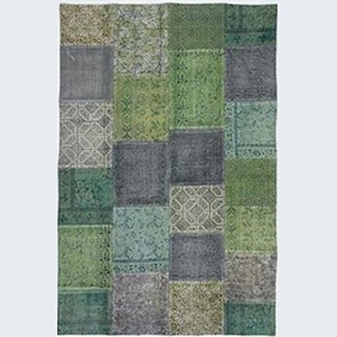 Teppich 180x200 in Patchwork grün