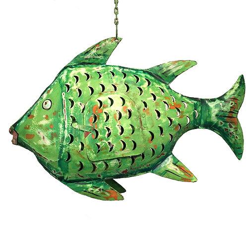 Fisch-Windlicht Metall grün (L: 42 cm)