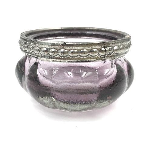 Teelichtglas mit Silberkante violett