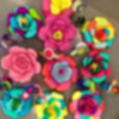 Giant paper flowers and cupcake flowers
